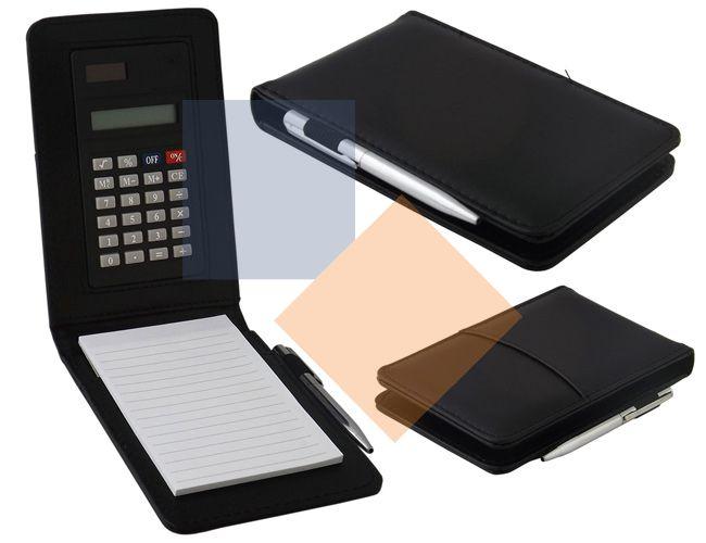 Bloco com caneta e calculadora