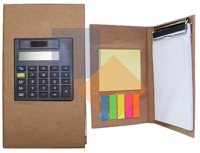 Bloco de anotações com calculadora
