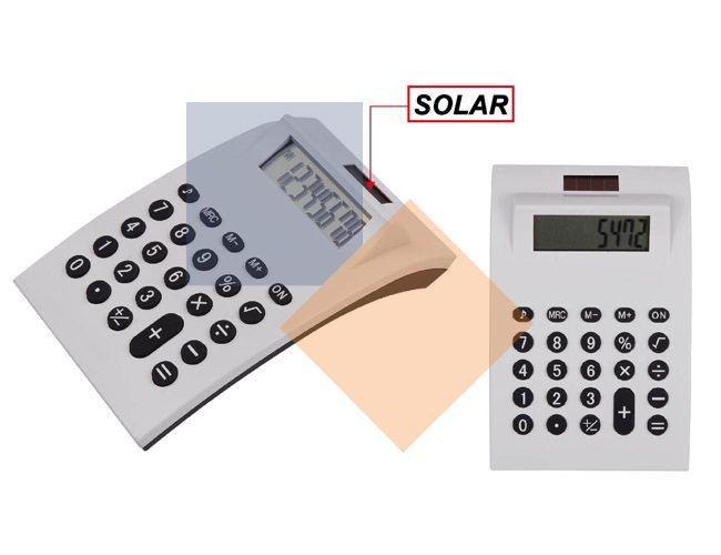 Calculadora branca com bateria solar
