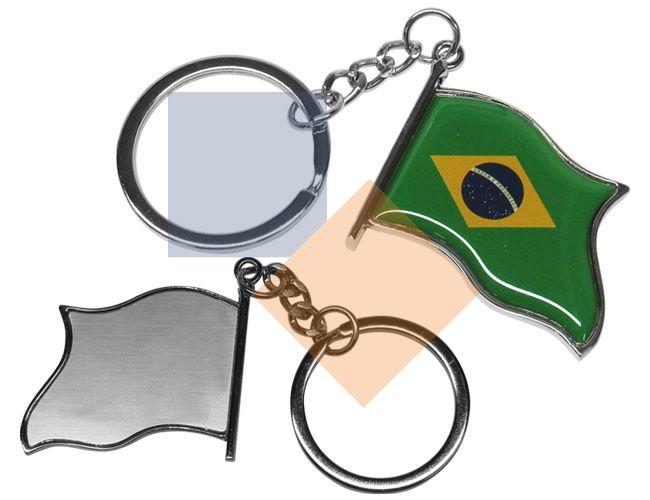 Chaveiro em metal bandeira do Brasil