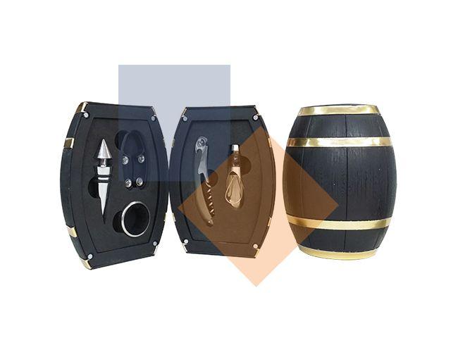 Kit vinho formato de barril 5 peças