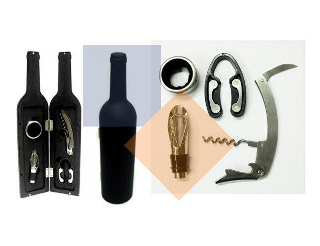 Kit vinho no formato de garrafa