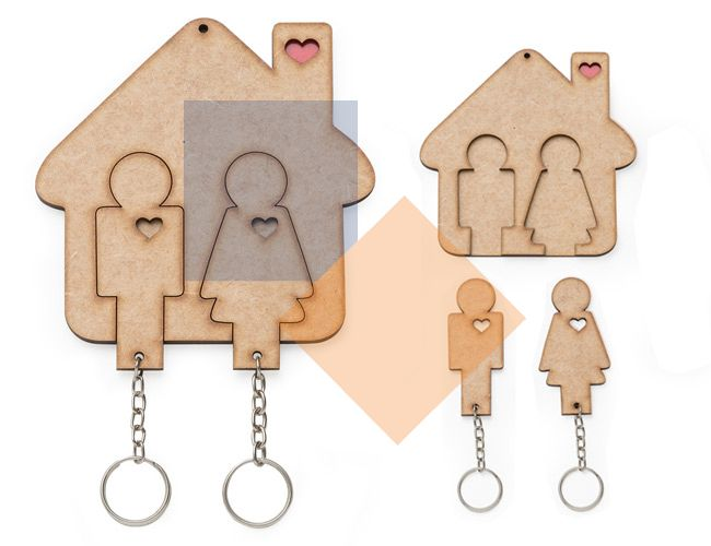 Porta chaves com chaveiro em MDF